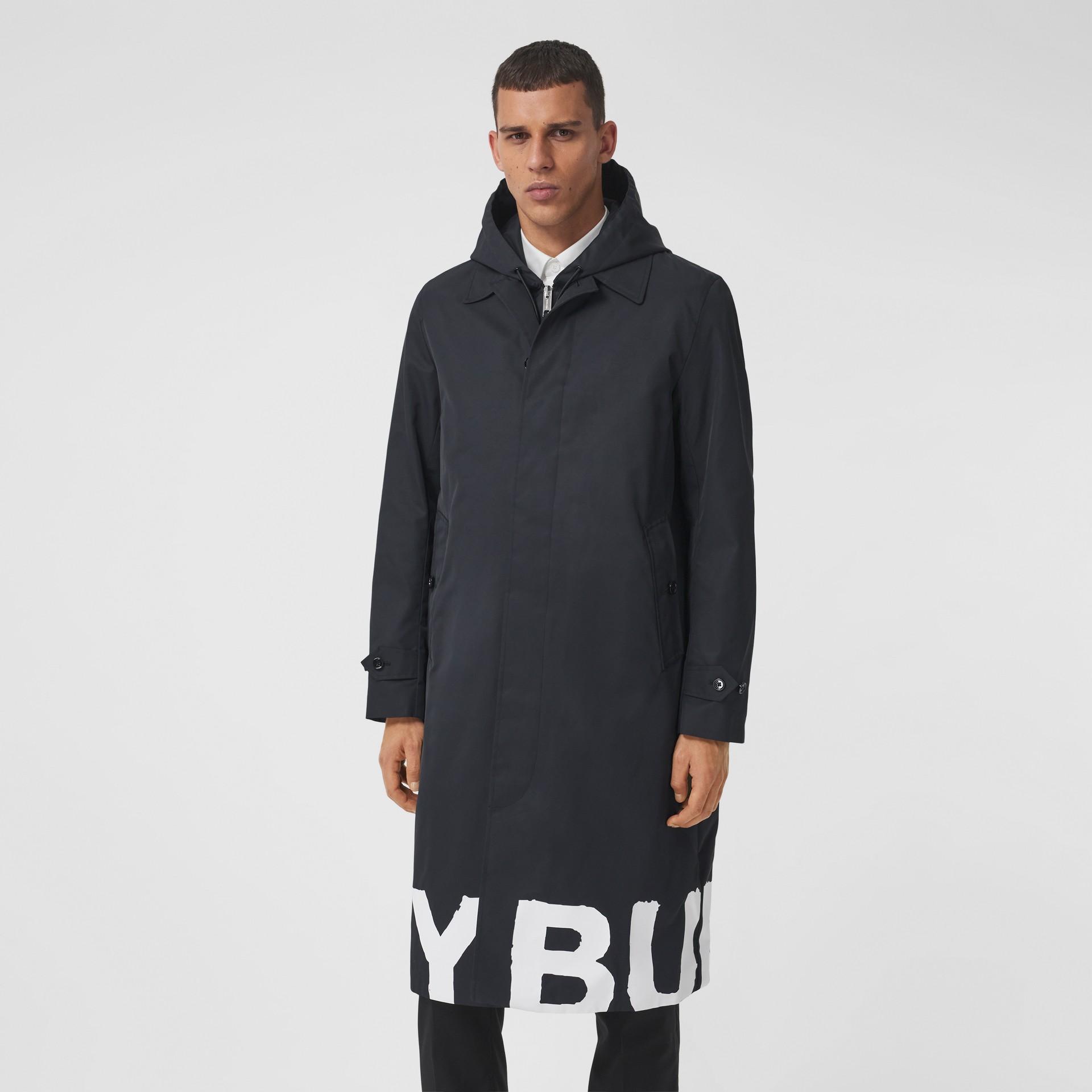 Abrigo tres cuartos en nailon con estampado de logotipo (Negro) - Hombre | Burberry - imagen de la galería 5