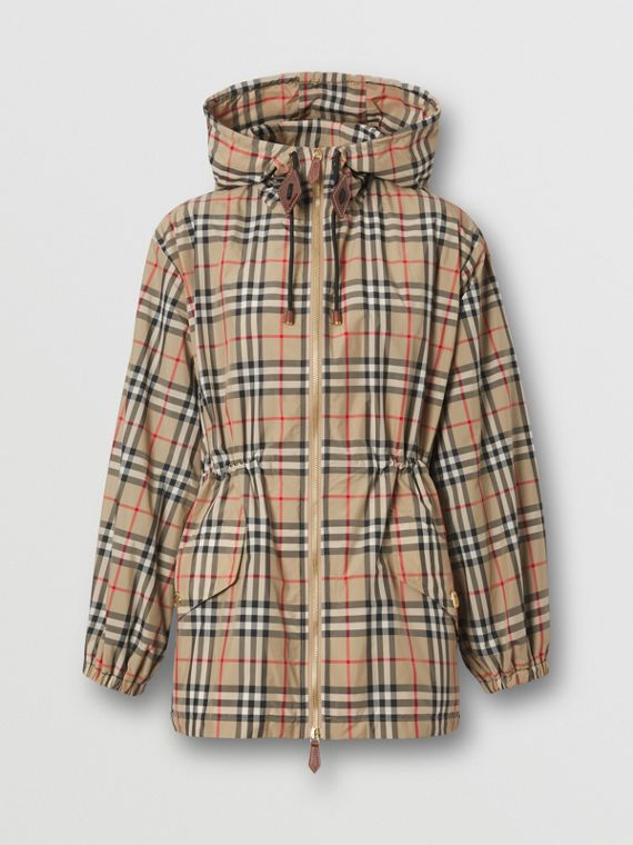 Vintage Check Recycled Polyester Hooded Jacket in Archive Beige