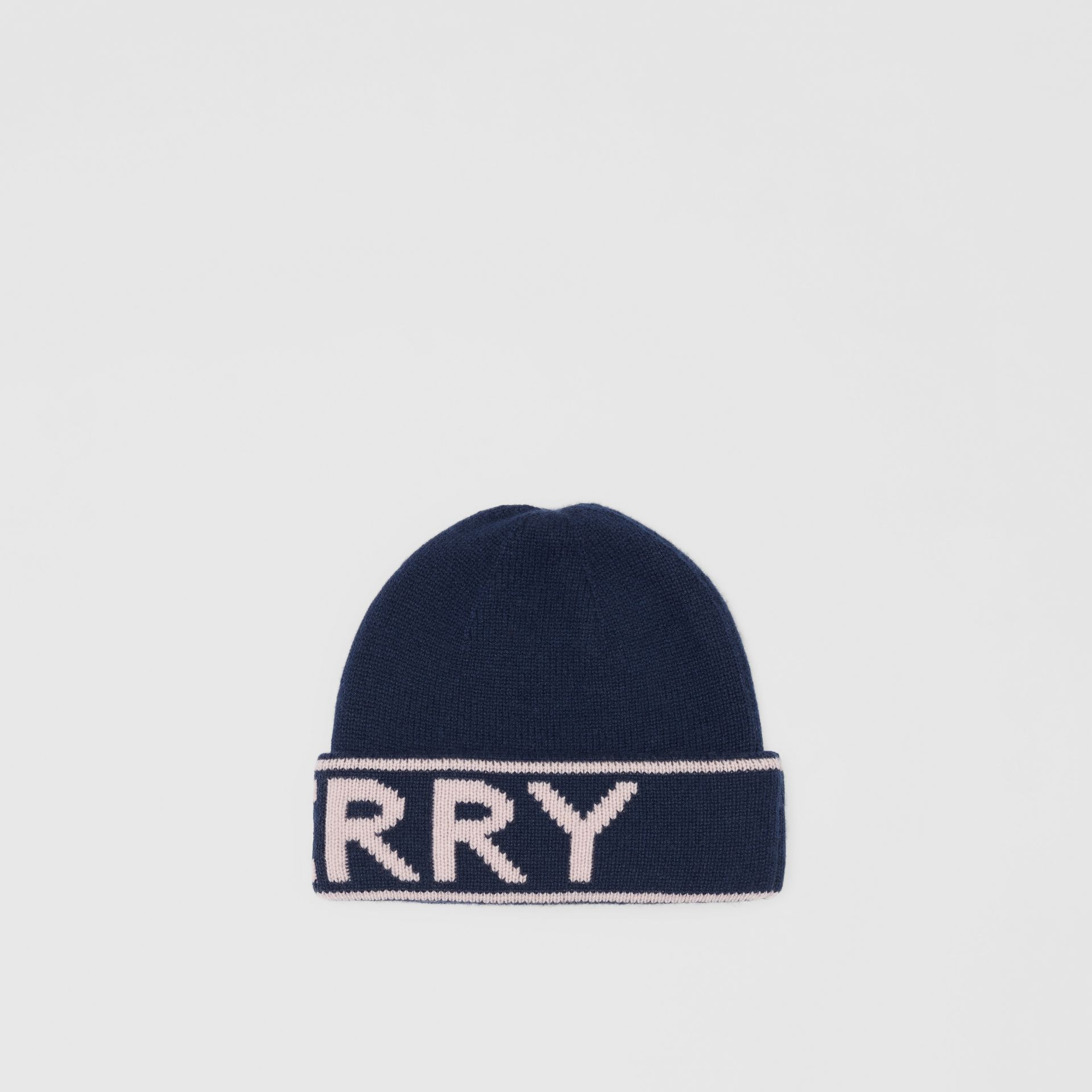 Logo Intarsia Cashmere Beanie in Navy | Burberry Canada - gallery image 4