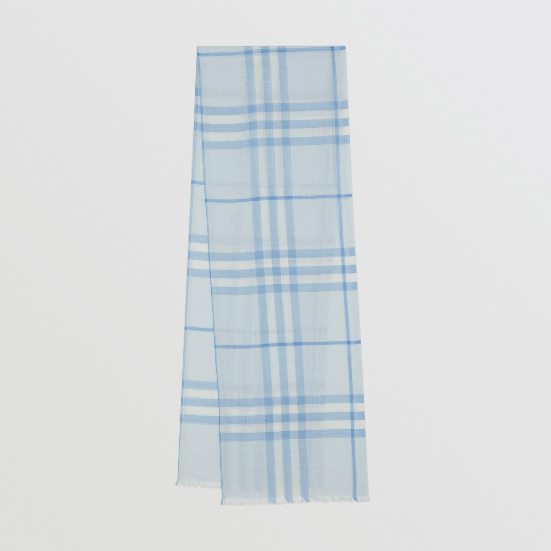 Lightweight Check Wool Silk Scarf   Burberry United Kingdom - gallery image 0