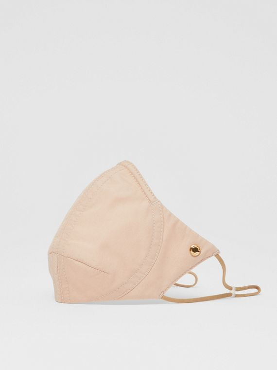 Logo Detail Cotton Face Mask in Soft Fawn