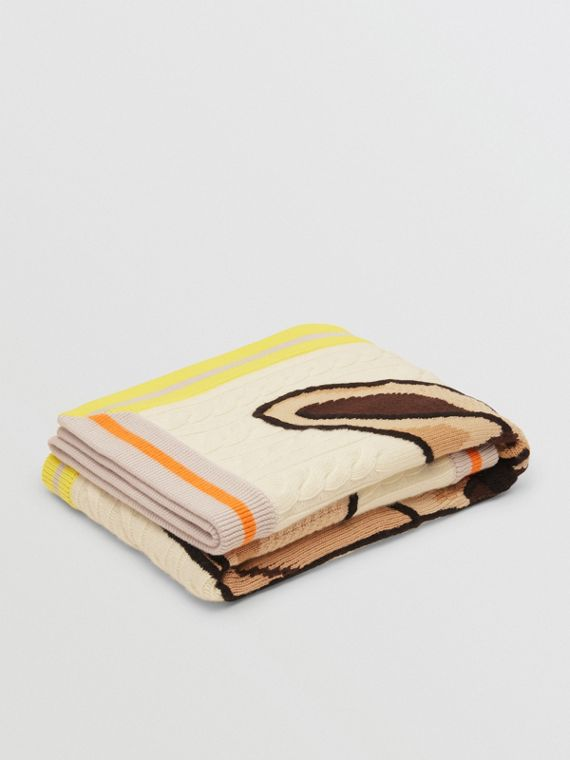 Deer Motif Wool Cashmere Baby Blanket in Ivory