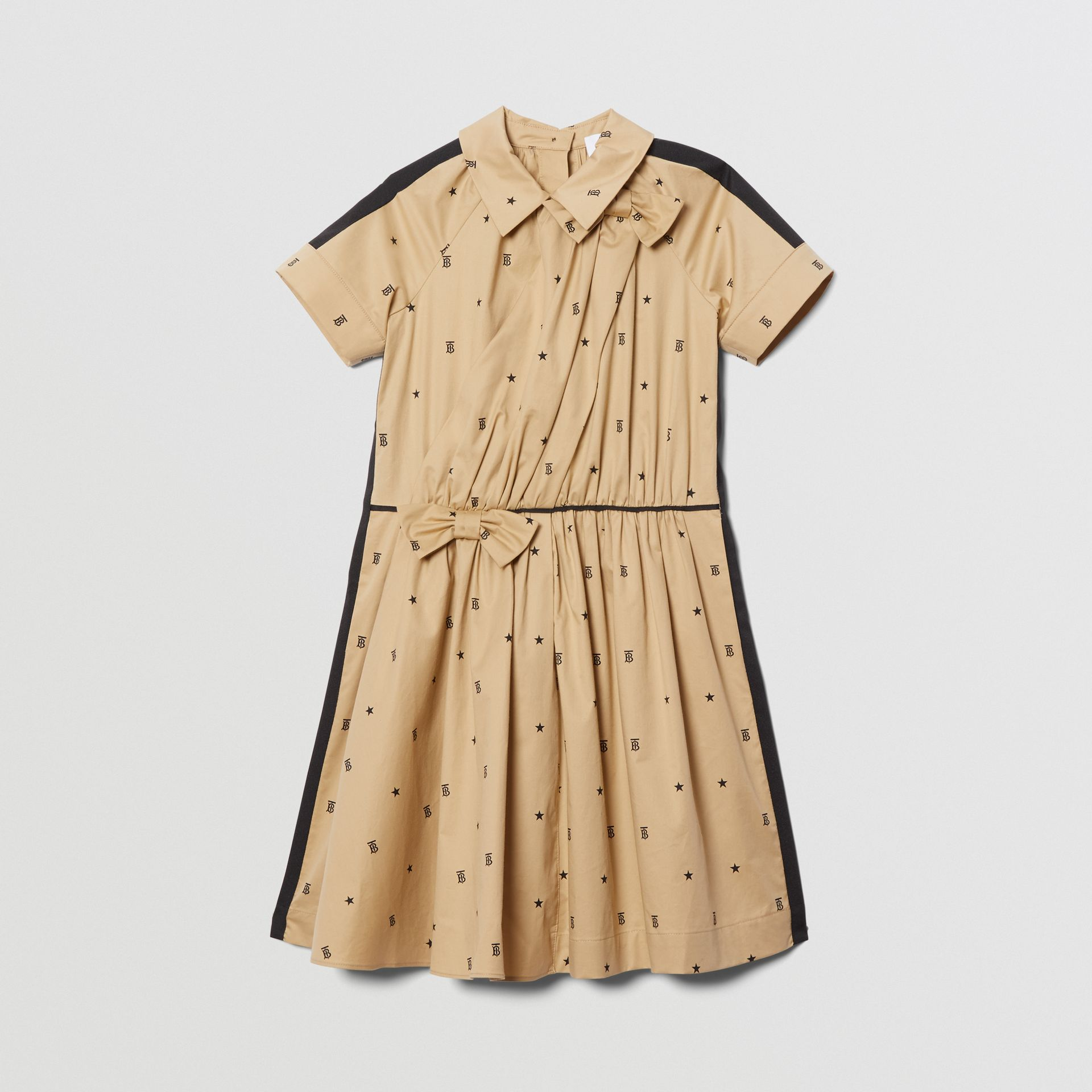 Star and Monogram Motif Stretch Cotton Dress in Sand | Burberry - gallery image 0