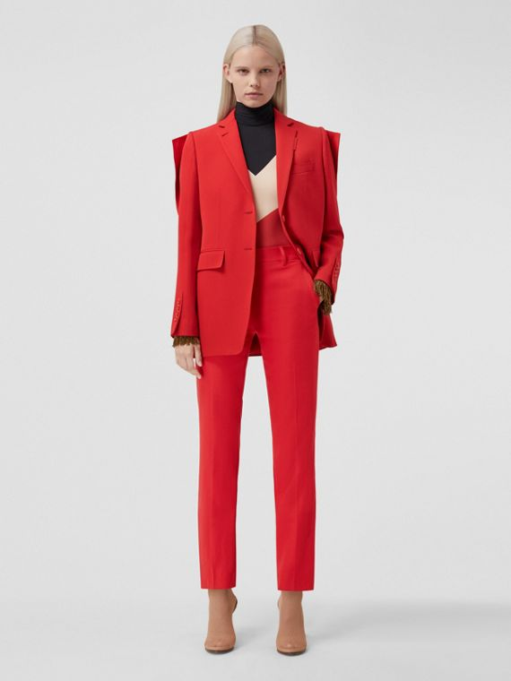 Panel Detail Grain de Poudre Wool Tailored Jacket in Bright Red