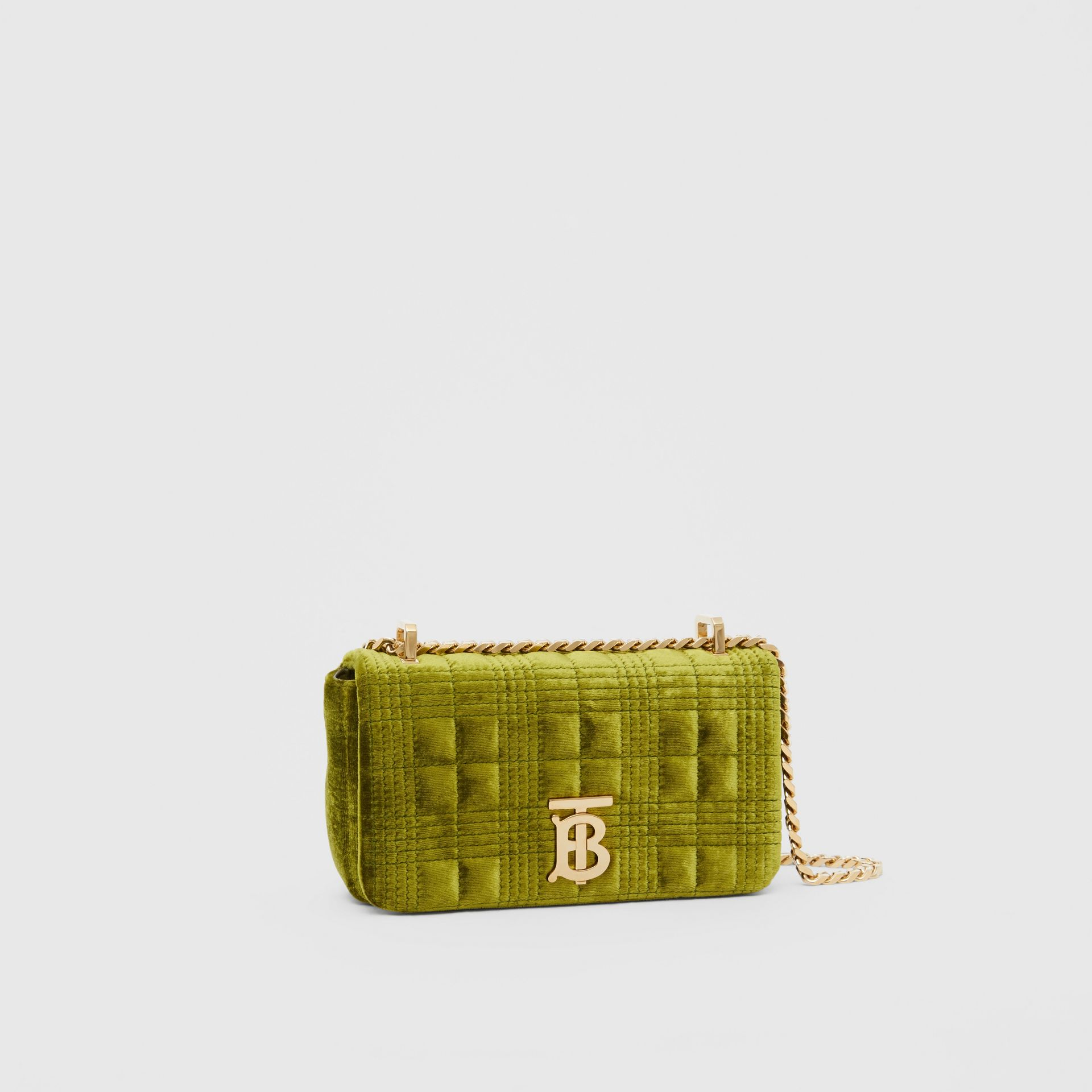 Mini Quilted Velvet Lola Bag in Juniper Green - Women | Burberry - gallery image 6