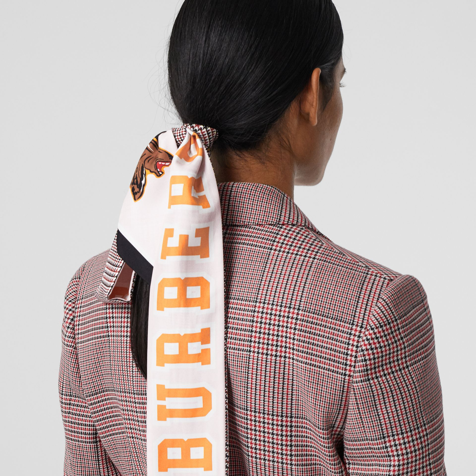 Varsity Graphic and Houndstooth Check Silk Skinny Scarf in Pink | Burberry - gallery image 9