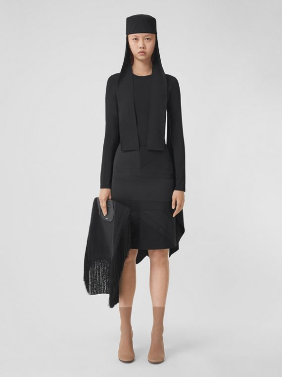 Flag Intarsia Satin Skirt in Black