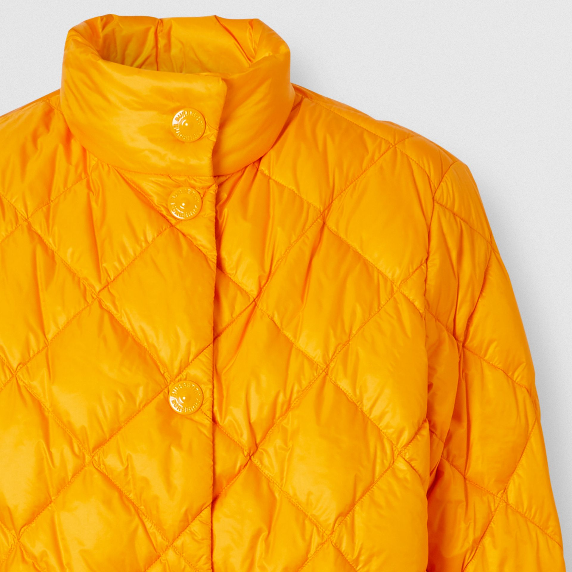 Diamond Quilted Down-filled Jacket in Citrus Orange - Women | Burberry - gallery image 6
