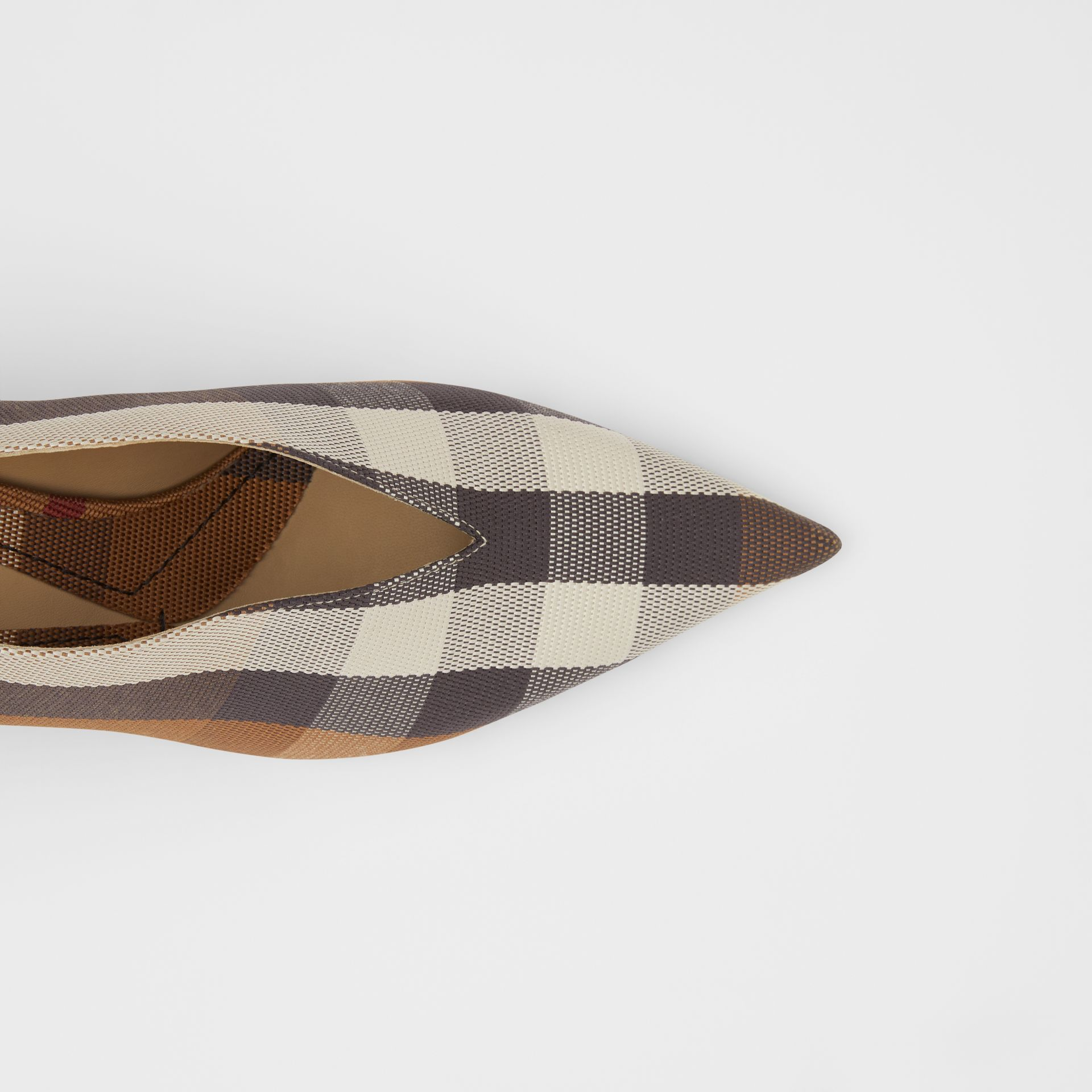 Check Technical Cotton Pumps in Birch Brown - Women | Burberry - gallery image 1