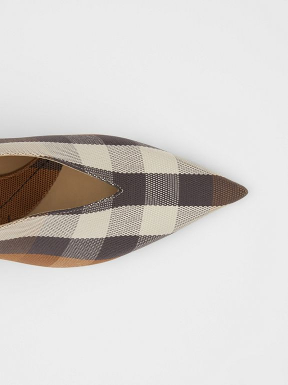 Check Technical Cotton Pumps in Birch Brown - Women | Burberry - cell image 1