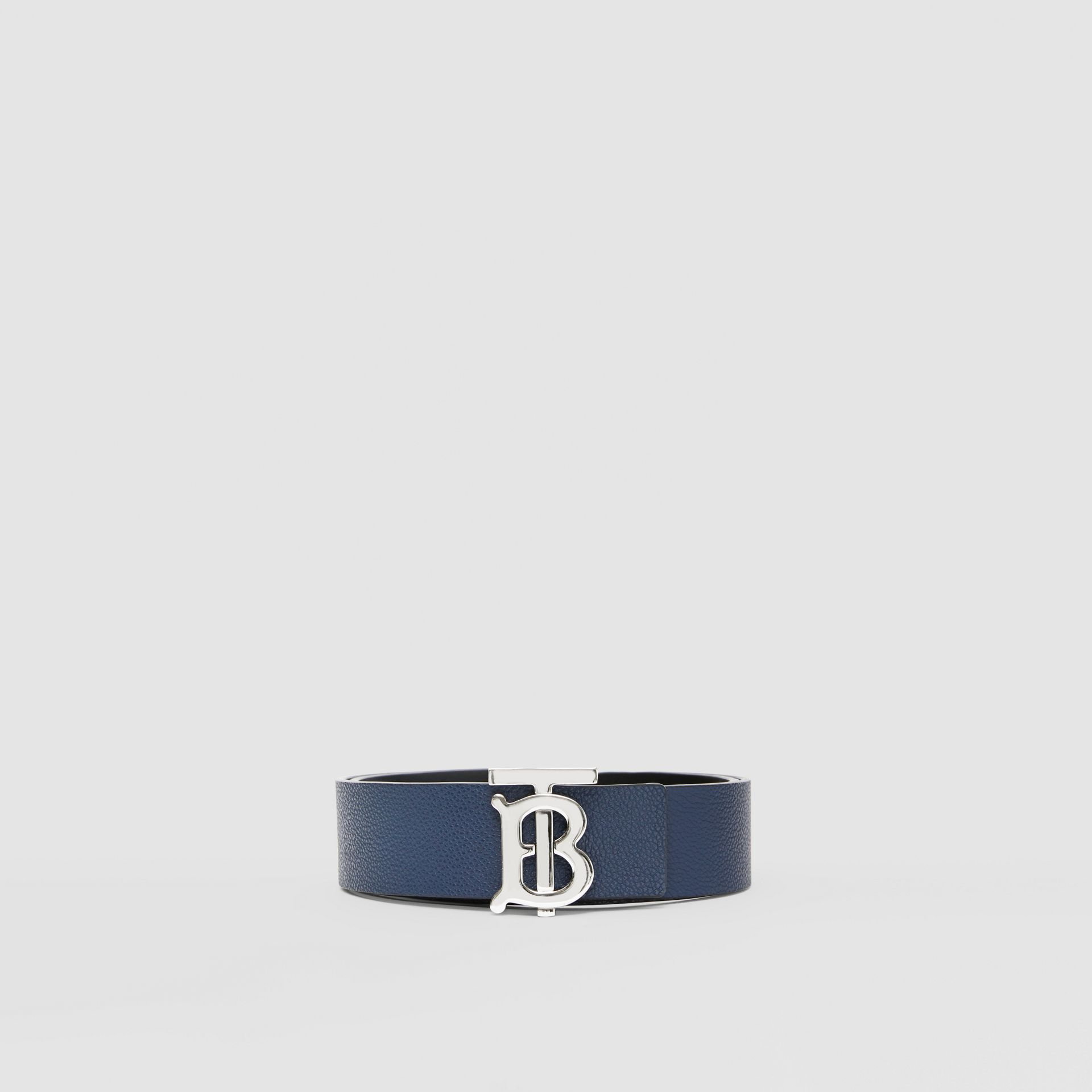 Reversible Monogram Motif Leather Belt in Navy/black - Men | Burberry United Kingdom - gallery image 3
