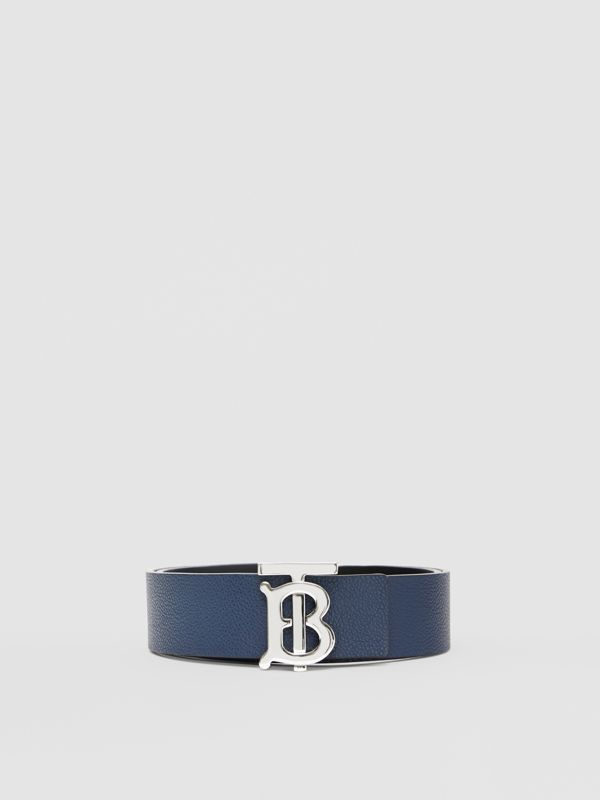 Reversible Monogram Motif Leather Belt in Navy/black - Men | Burberry United Kingdom - cell image 3