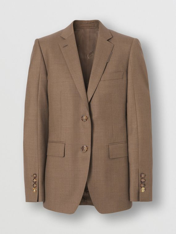 Wool Tailored Jacket in Deep Taupe