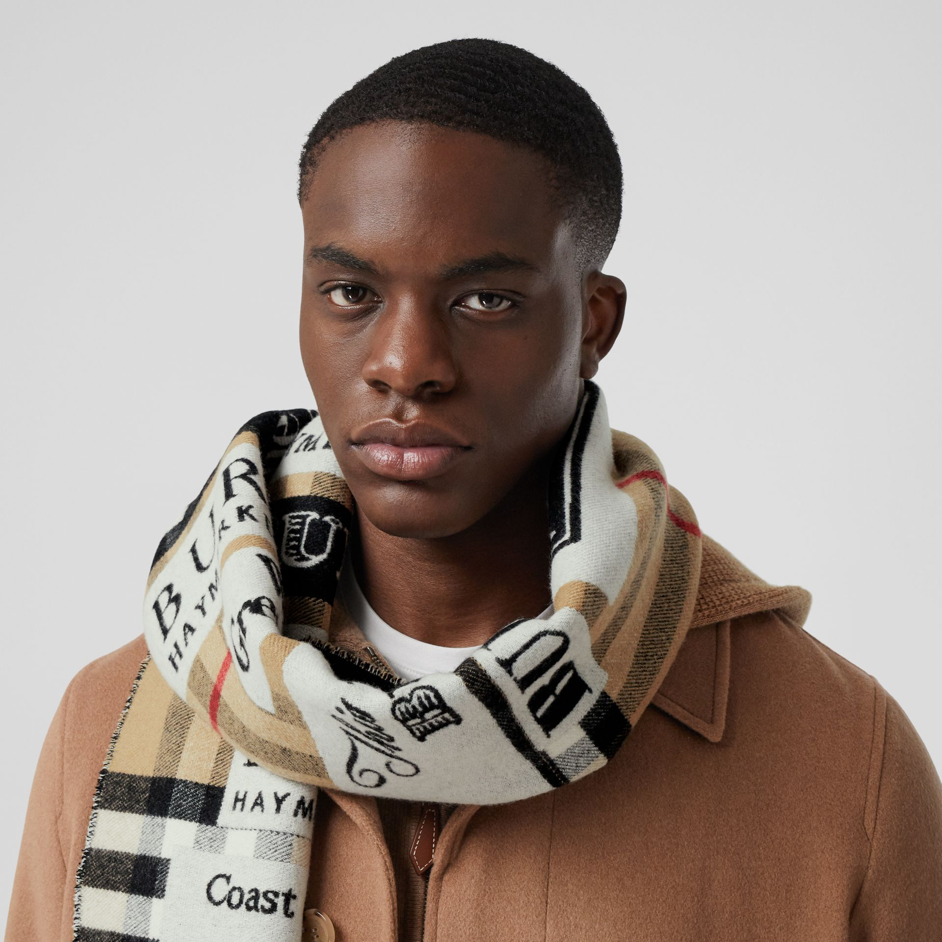Archive Logo Cashmere Jacquard Scarf in Beige | Burberry - gallery image 3