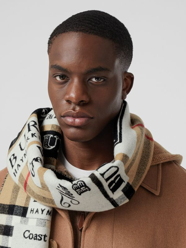 Archive Logo Cashmere Jacquard Scarf in Beige | Burberry - cell image 3