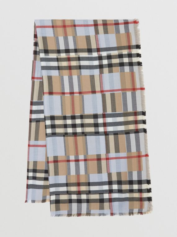 Lightweight Chequer Cashmere Jacquard Scarf in Pale Blue