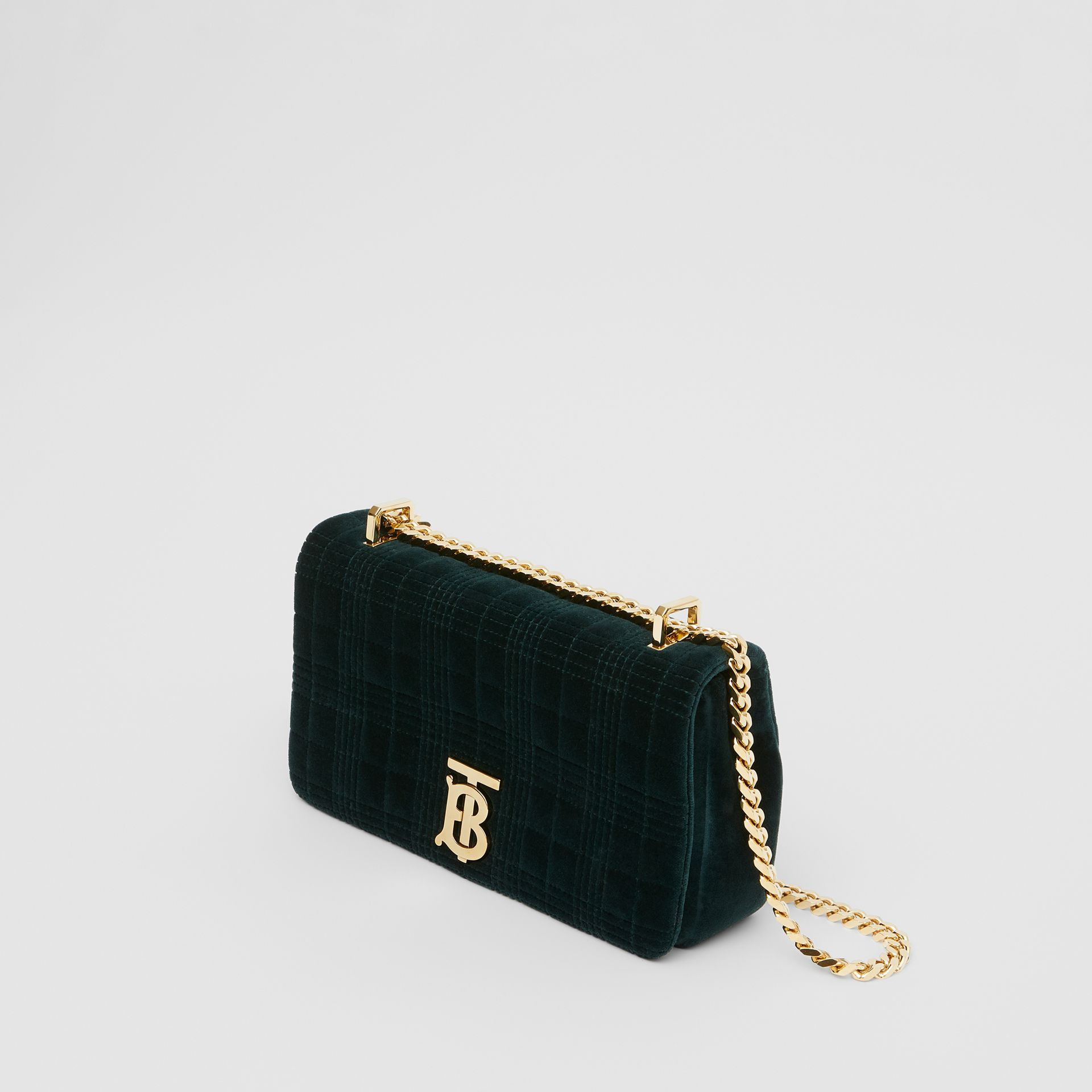 Small Quilted Velvet Lola Bag in Dark Green - Women | Burberry United Kingdom - gallery image 3