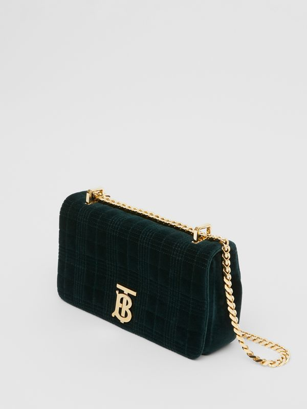 Small Quilted Velvet Lola Bag in Dark Green - Women | Burberry - cell image 3