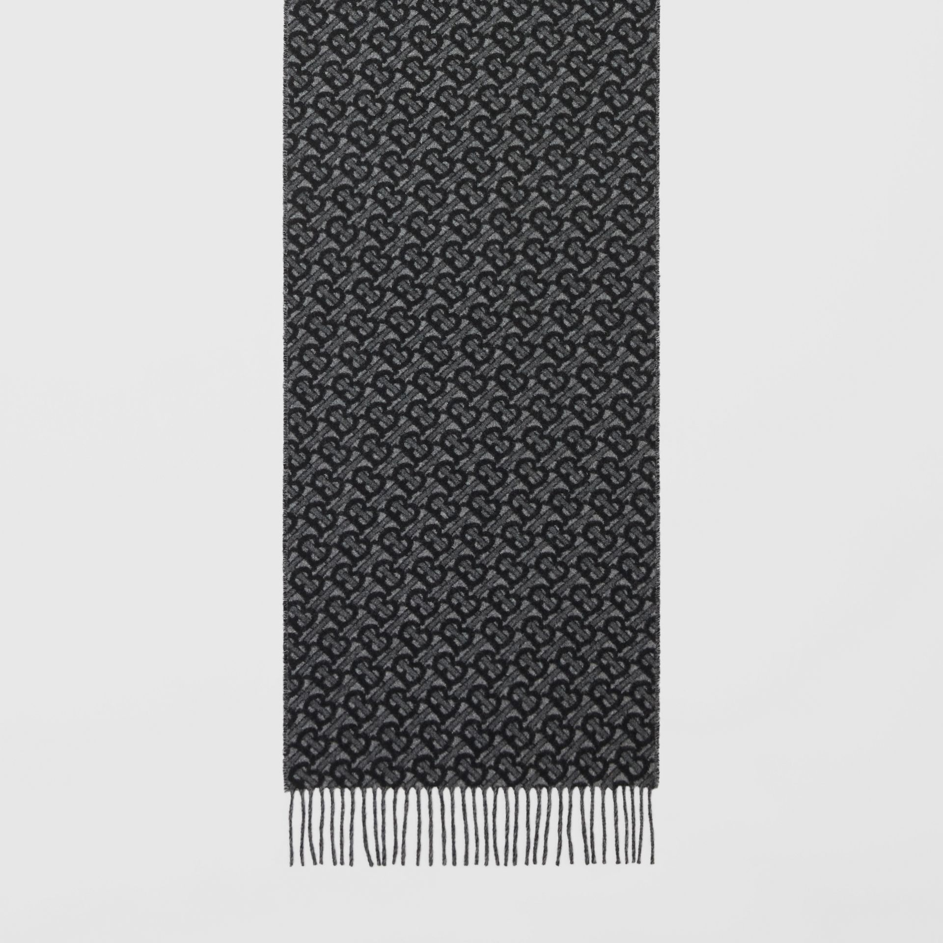 Monogram Cashmere Jacquard Scarf in Graphite | Burberry - gallery image 3