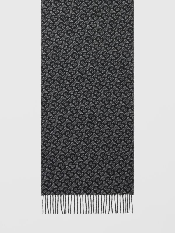 Monogram Cashmere Jacquard Scarf in Graphite | Burberry - cell image 3