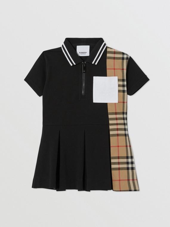 Vintage Check Panel Cotton Piqué Polo Shirt Dress in Black