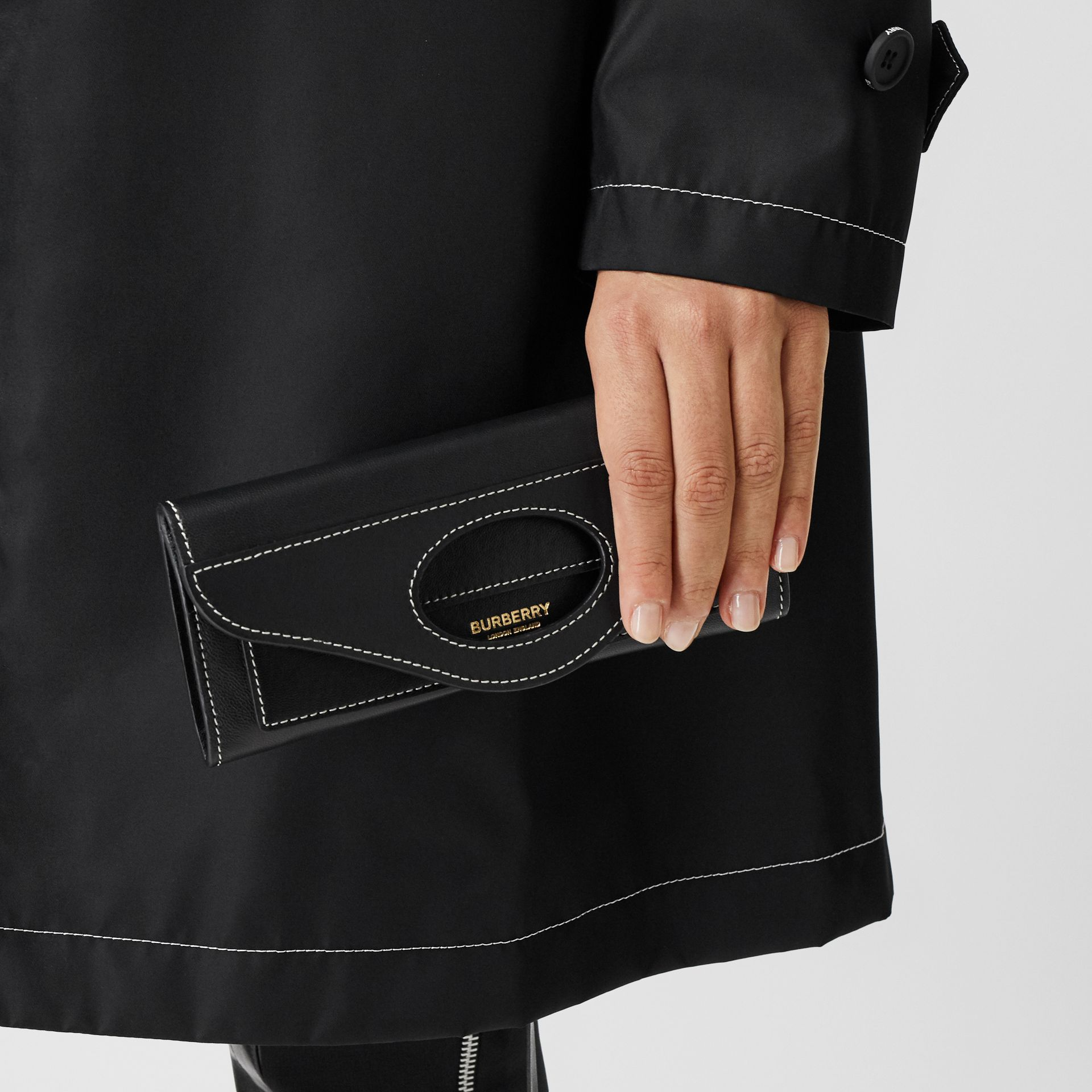 Mini Topstitched Lambskin Pocket Clutch in Black | Burberry - gallery image 11