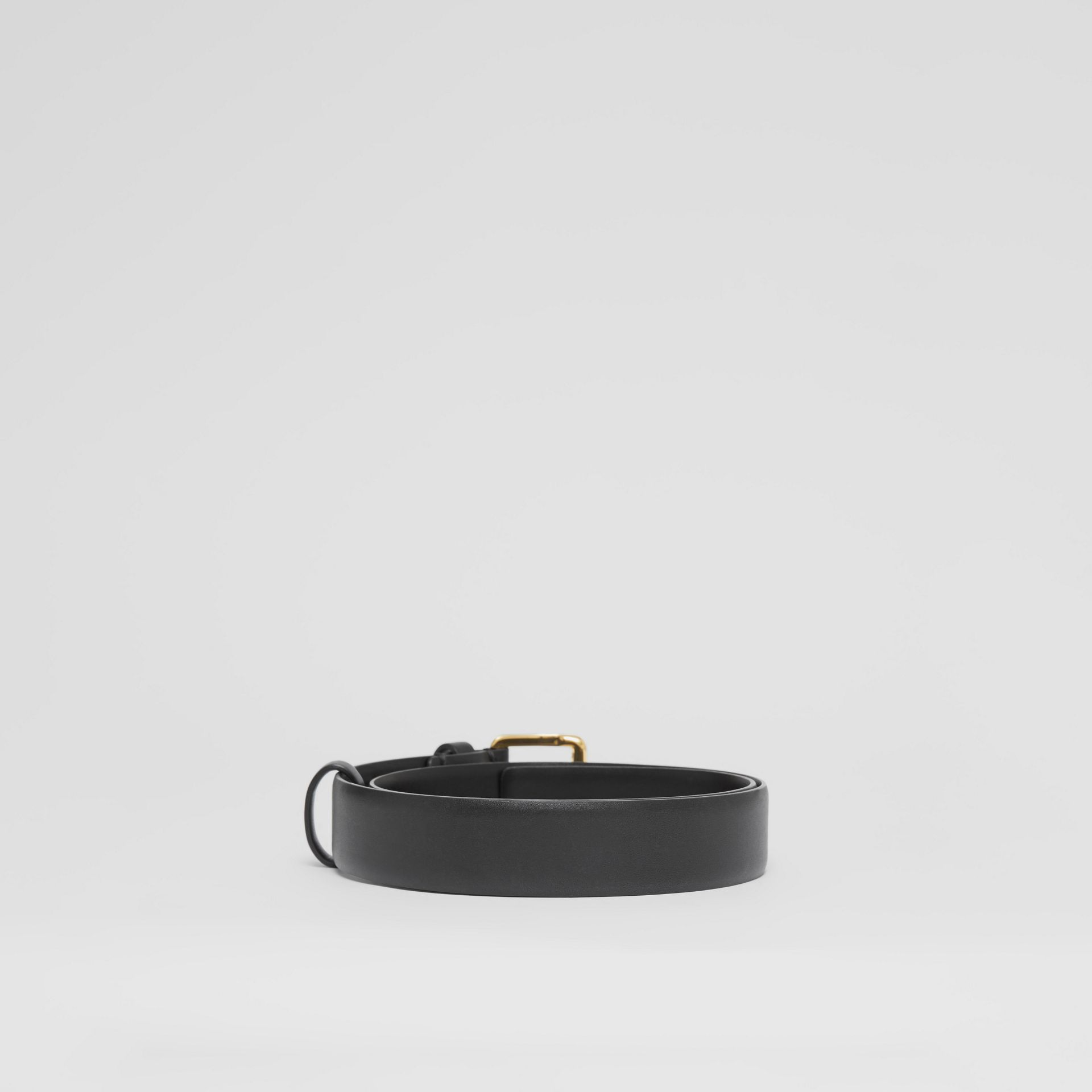 Monogram Motif Leather Belt in Black - Women | Burberry - gallery image 4
