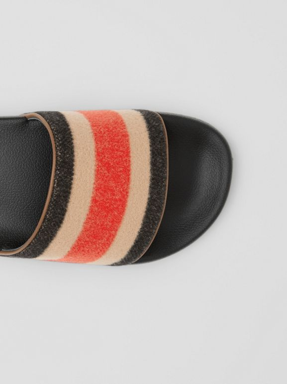 Striped Wool and Leather Slides in Light Camel - Women | Burberry - cell image 1