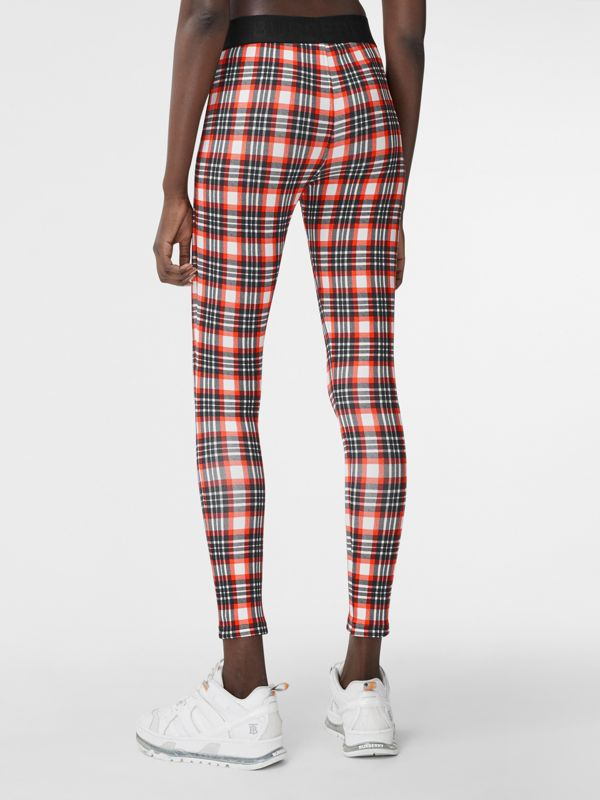 Check Stretch Jersey Leggings – Online Exclusive in Bright Red - Women | Burberry - cell image 2