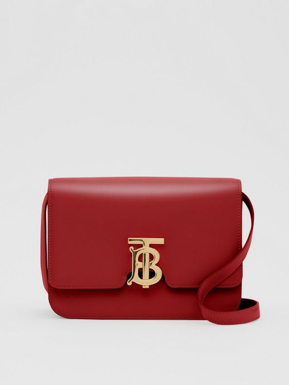 Small Leather TB Bag in Dark Carmine