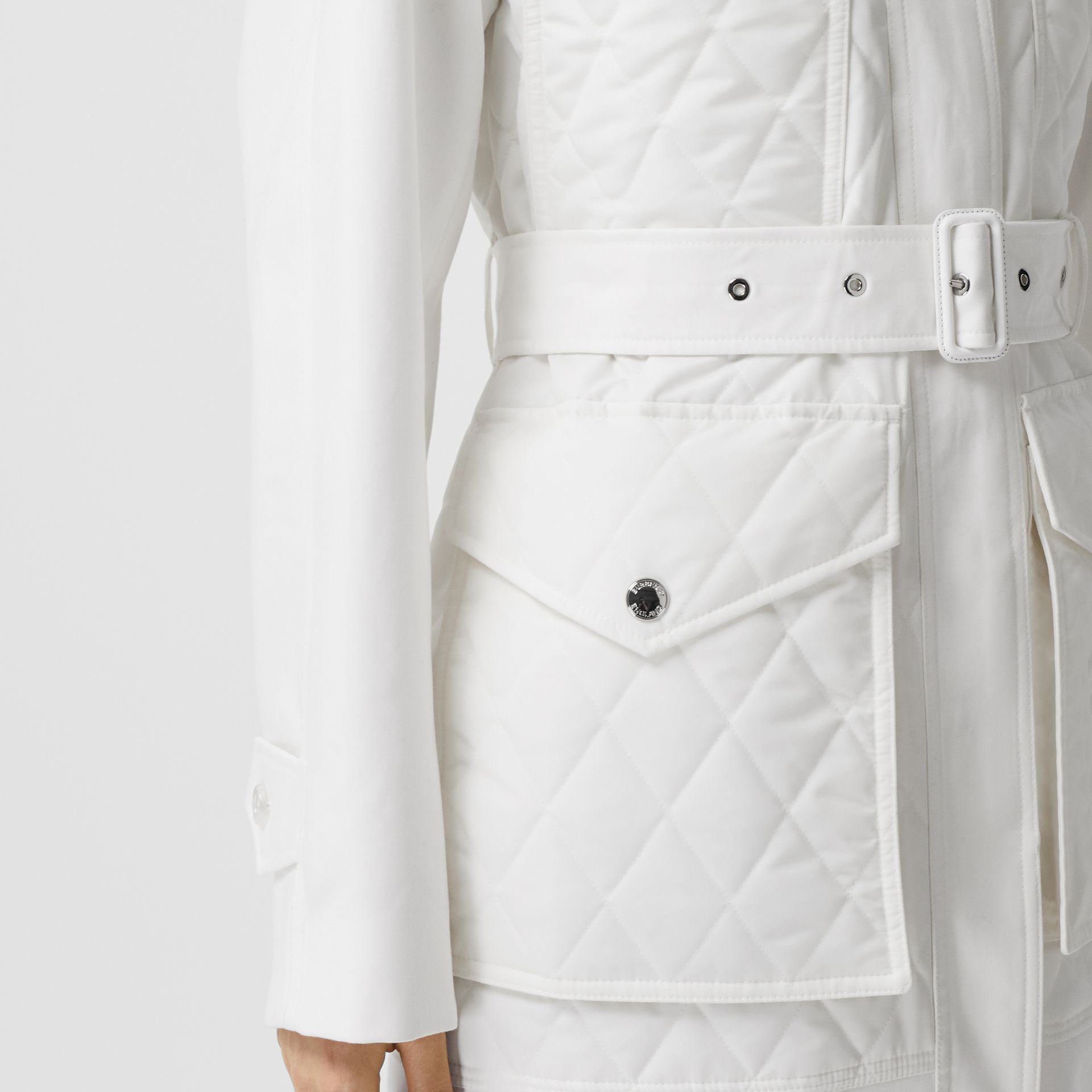 Diamond Quilted Panel Cotton Gabardine Car Coat in Natural White - Women | Burberry - gallery image 4