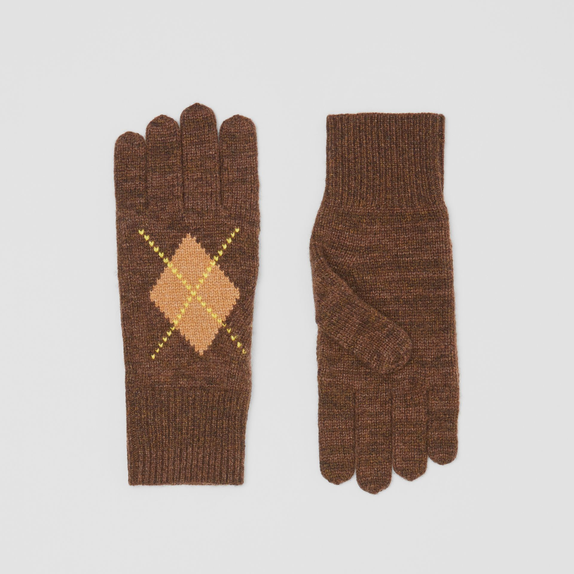Argyle Intarsia Wool Cashmere Gloves in Brown | Burberry - gallery image 0