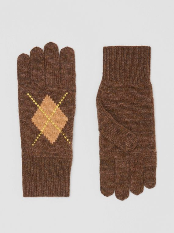 Argyle Intarsia Wool Cashmere Gloves in Brown