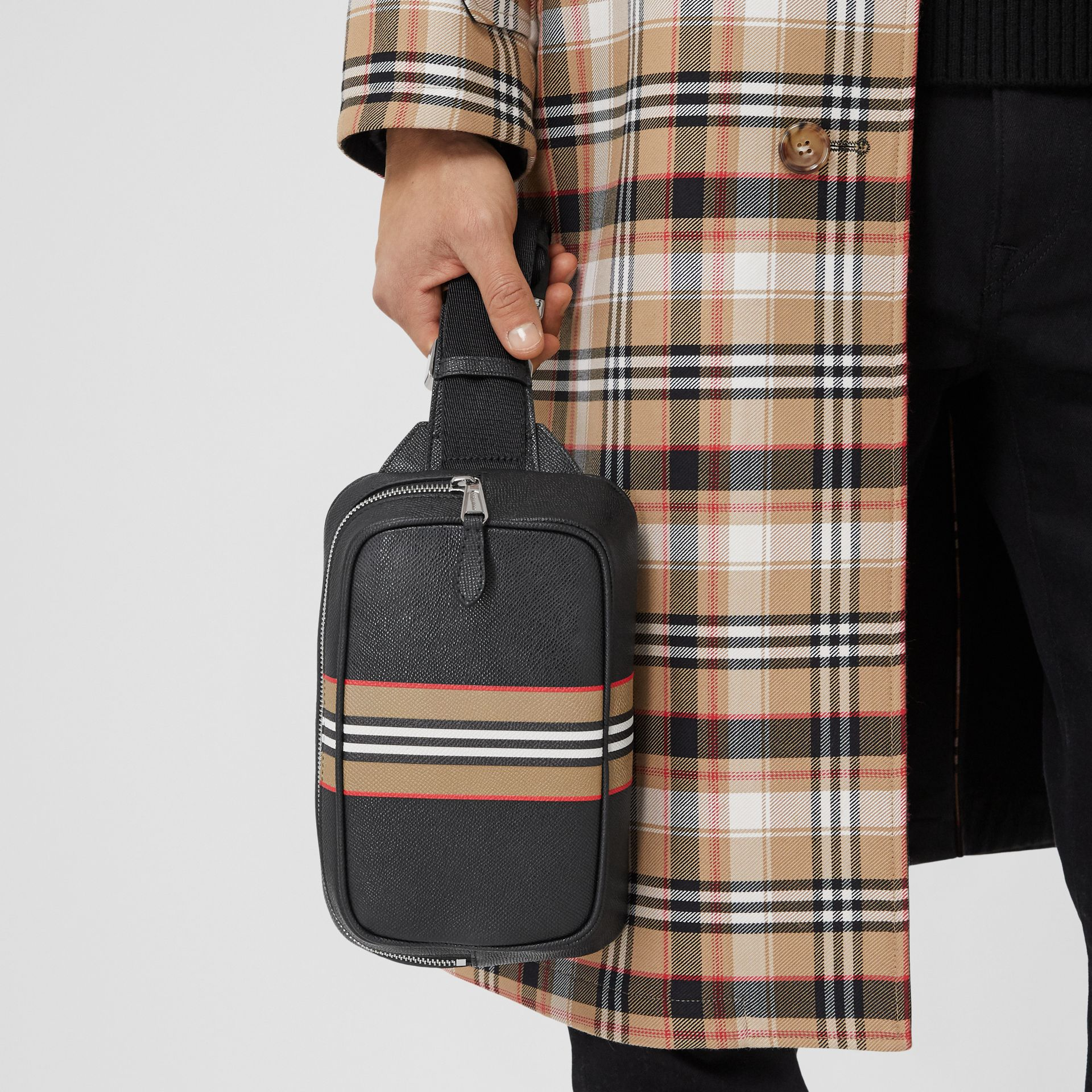 Icon Stripe Print Grainy Leather Bum Bag in Black - Men | Burberry - gallery image 3