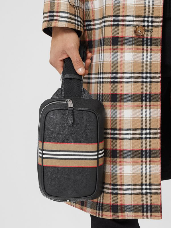 Icon Stripe Print Grainy Leather Bum Bag in Black - Men | Burberry - cell image 3