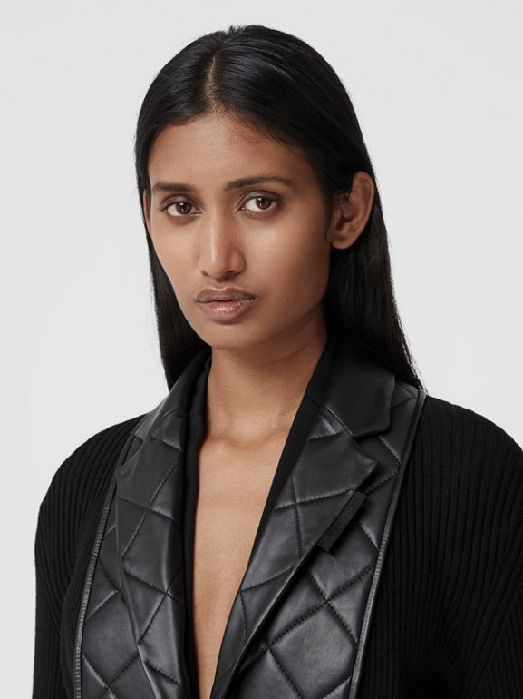 Lambskin Blazer Panel Rib Knit Wool Cardigan in Black - Women | Burberry Hong Kong S.A.R. - cell image 1
