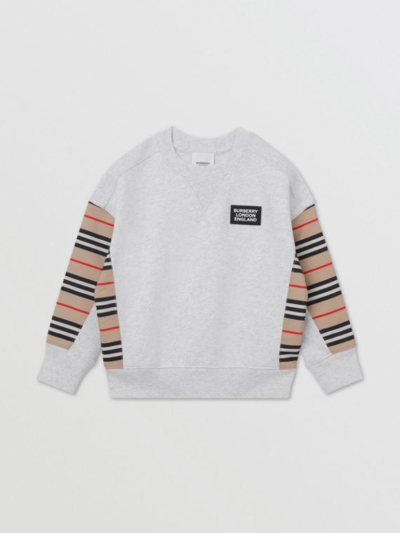 Icon Stripe Panel Cotton Sweatshirt in White Melange