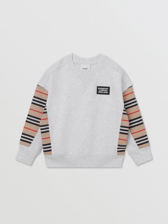 아이콘 스트라이프 패널 코튼 스웨트셔츠 (화이트 멜란지)