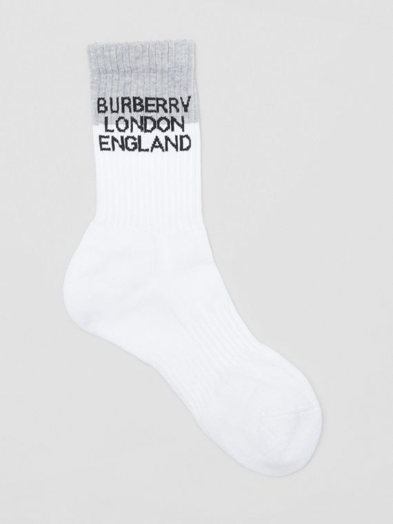 Logo Intarsia Technical Stretch Cotton Socks in White/grey Melange