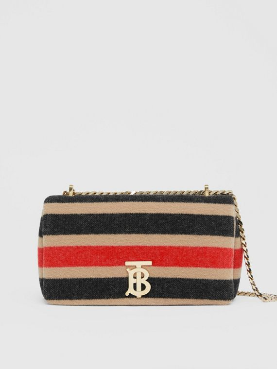 Bolsa Lola de lã listrada - Pequena (Camel Claro)