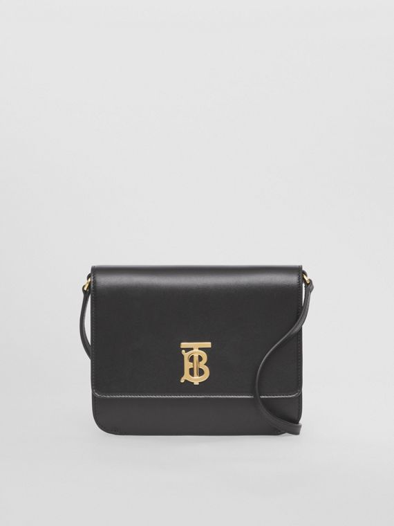Mini Leather Flat TB Bag in Black