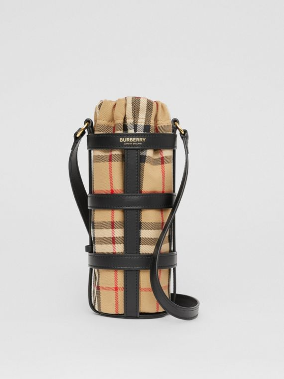 Vintage Check and Leather Water Bottle Holder in Black