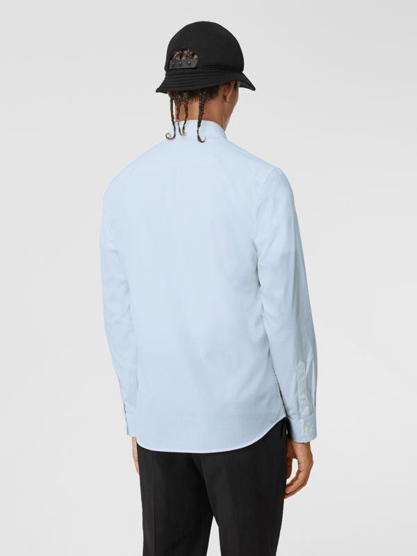 Embroidered Motifs Stretch Cotton Poplin Shirt in Pale Blue - Men | Burberry - cell image 2