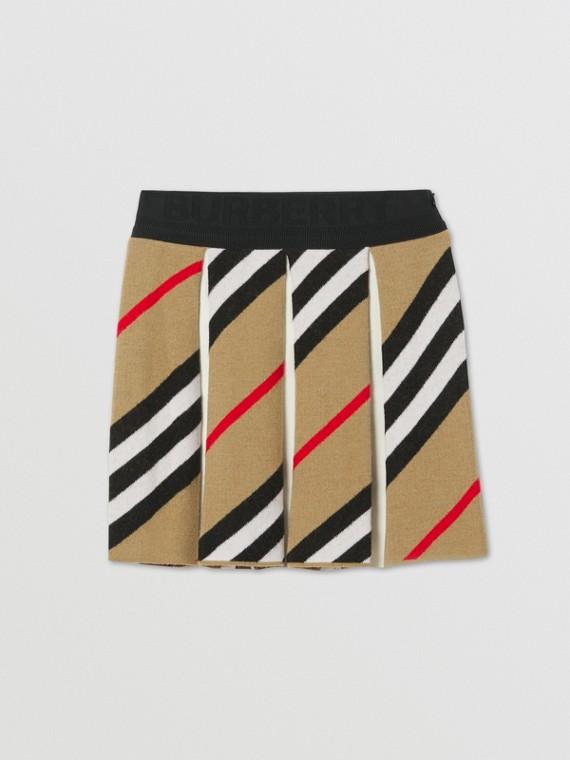 Faltenrock aus einer Wollmischung im Streifendesign (Vintage-beige)
