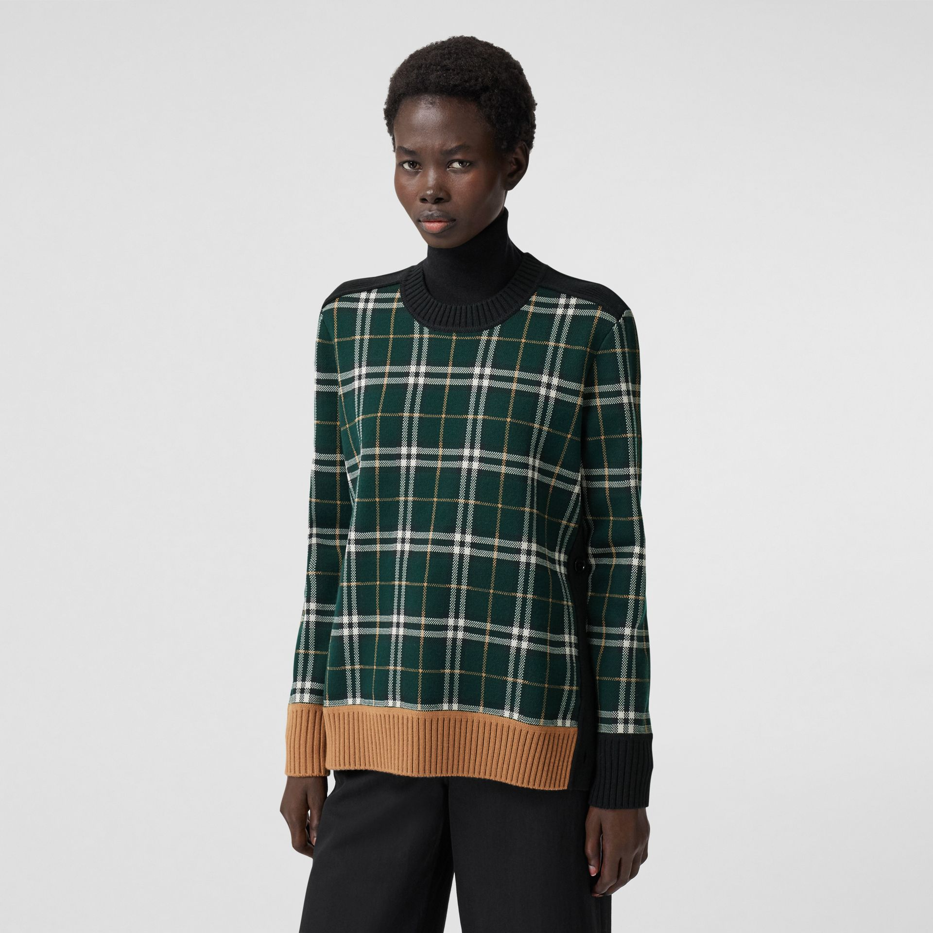 Check Technical Merino Wool Jacquard Sweater in Bottle Green - Women | Burberry - gallery image 6