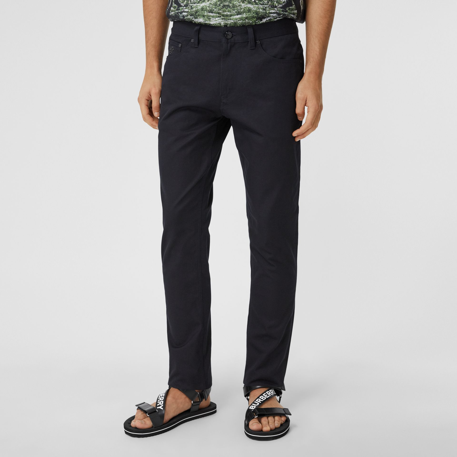 Slim Fit Cotton Chinos in Navy - Men | Burberry - gallery image 5