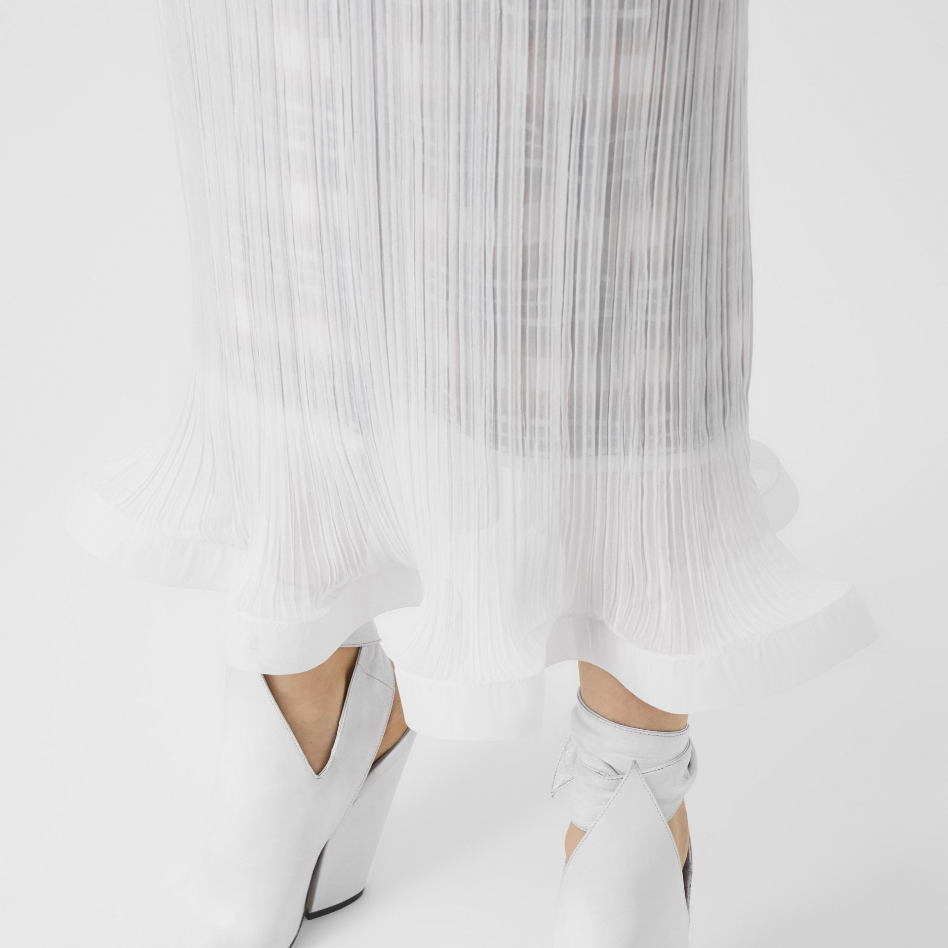 Custom Fit Ruffle Detail Chiffon Plissé Skirt in Optic White - Women | Burberry - gallery image 3