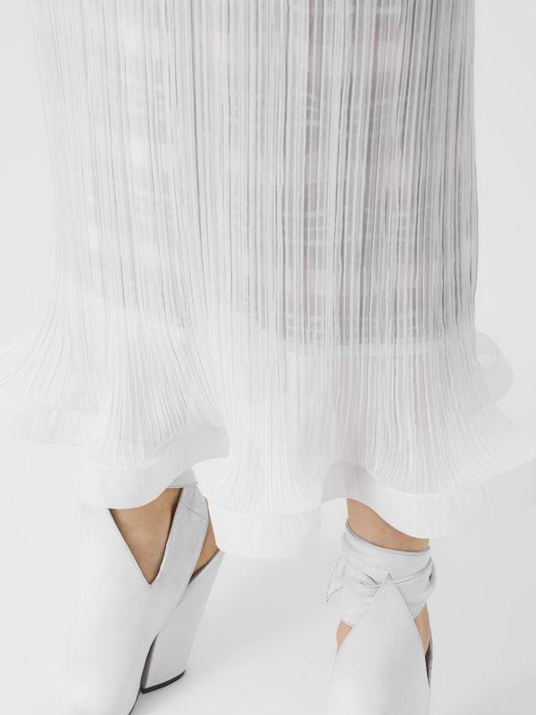 Custom Fit Ruffle Detail Chiffon Plissé Skirt in Optic White - Women | Burberry - cell image 3