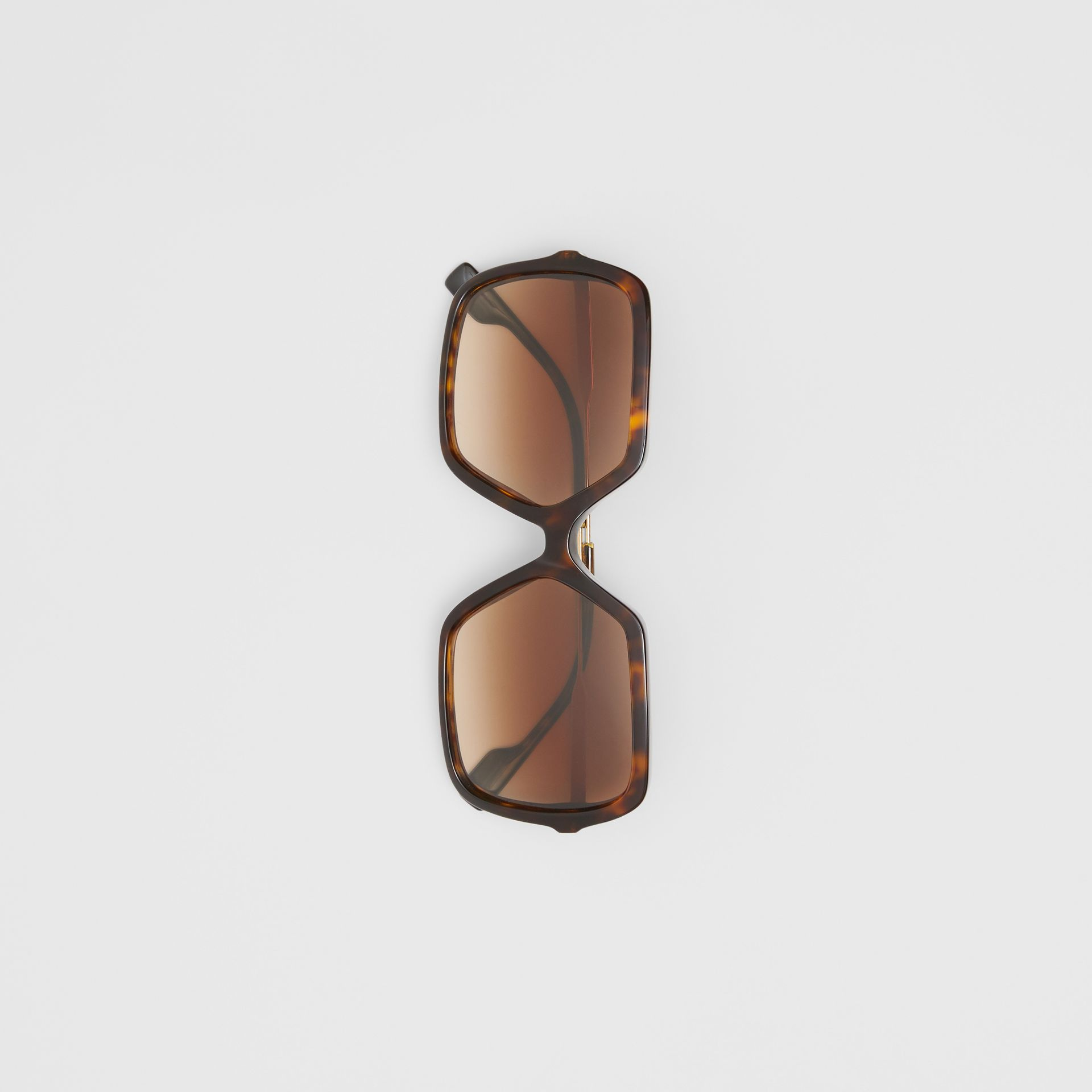 Oversized Square Frame Sunglasses in Tortoiseshell - Women | Burberry Canada - gallery image 3