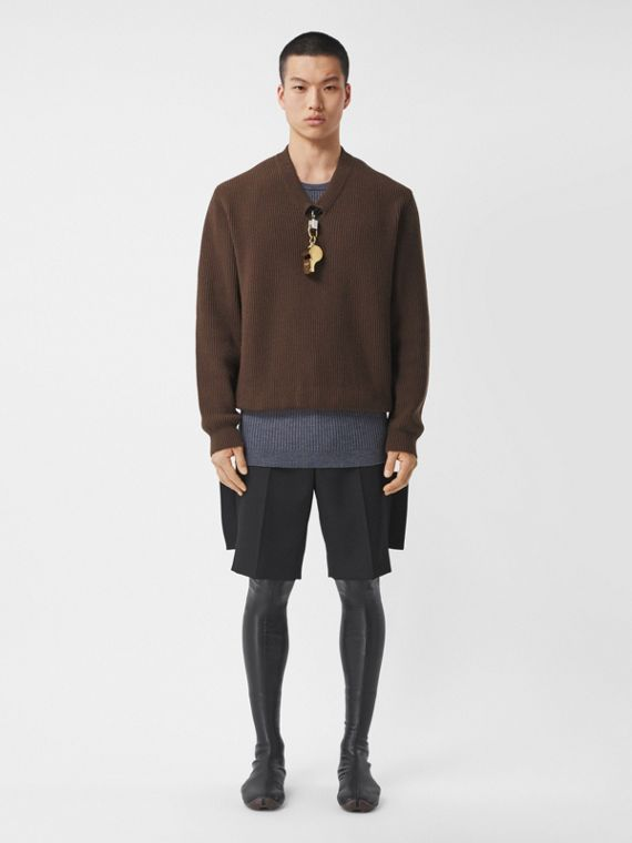 Gold-plated Whistle Detail Rib Knit Wool Sweater in Brown
